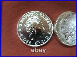 10 Queen's Beast Red Dragon of Wales 2 oz Silver coins COMPLETE MINT ROLL 20 OZ