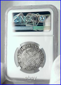 1594 ENGLAND Great Britain UK Queen ELIZABETH I Silver Shilling Coin NGC i81184