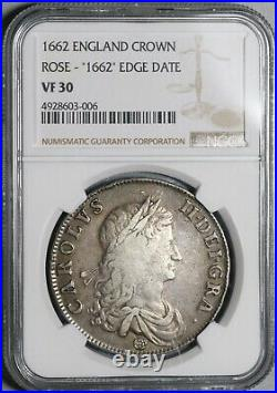 1662 NGC VF 30 Charles II Crown England Great Britain Edge Year Coin (19122601C)