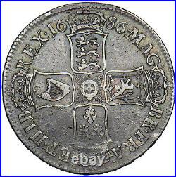 1686 Crown (unbarred H Hib) James II British Silver Coin V Nice
