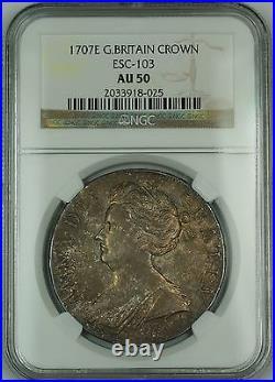 1707E Great Britain Silver Crown Coin ESC-103 Anne NGC AU-50 AKRï¾