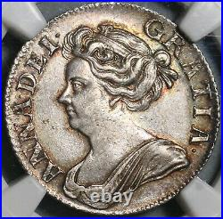 1709 NGC AU 58 Anne Shilling Great Britain Silver Coin S-3610 (20110501C)