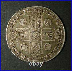 1741 Crown. George II British Silver Crown. Roses In Angles. Very Nice