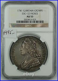1741 Great Britain Silver Crown Coin ESC-123 Roses NGC AU-53 AKR