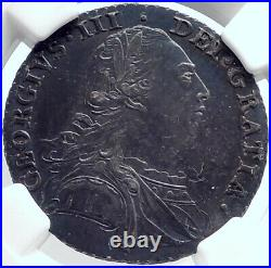 1787 GREAT BRITAIN UK King GEORGE III Antique Silver Shilling Coin NGC i81753