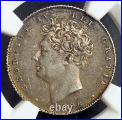 1826, Great Britain, George IV. Nice Silver Bare Bust 6 Pence Coin. NGC AU-58