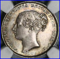 1839 NGC MS 64+ Victoria Silver Shilling Great Britain Coin (20091201C)