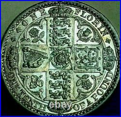 1849, Great Britain Godless Gothic Florin, Sp #3890 Type A