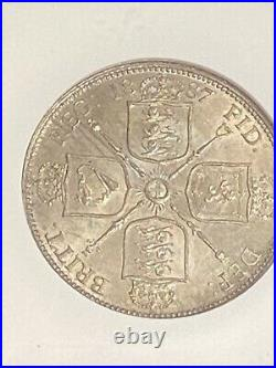 1887 Great Britain Jubilee Head 2 Shillings NGC MS 65 SILVER Coin Rainbow RARE