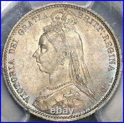 1887 PCGS MS64 Victoria 6 Pence Wreath Great Britain Silver Coin (19082101C)