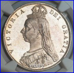 1890, Great Britain, Queen Victoria. Proof-Like Silver ½ Crown Coin. NGC MS63(+)