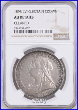1893 LVI Key Date Sterling Crown Great Britain Km#783 Ngc Au-details Victoria