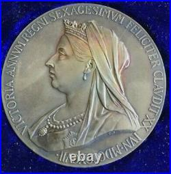 1897Large Silver Medal Coin Queen Victoria Diamond Jubilee RAINBOW TONED