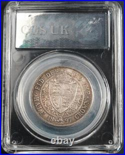 1897, Great Britain, Queen Victoria. Certified Silver 1/2 Crown Coin. CGS UK 82