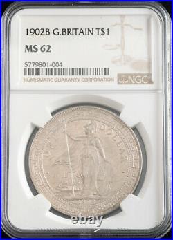1902, Great Britain/Hong Kong. Silver Trade Dollar Coin. Bombay mint! NGC MS-62