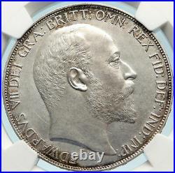 1902 Great Britain UK King EDWARD VII Silver MATTE PROOF CROWN NGC i84424