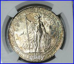 1908 B Great Britain Silver Trade Dollar NGC UNC Details Toning Pretty