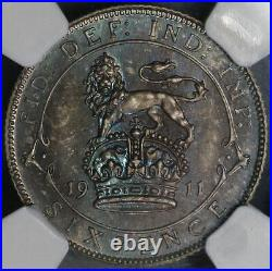 1911 NGC PF 66 Great Britain 6 pence George V Proof Silver Coin (18082606C)