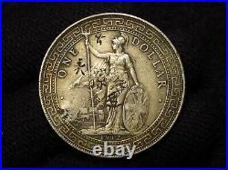 1912-B Great Britain Silver Trade Dollar CHOP MARKS