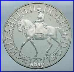 1977 GREAT BRITAIN United Kingdom Queen Elizabeth II SILVER 25 Pence Coin i85555