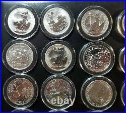 1998-2019 Great Britain Britannia 1 Oz Collection Set 22 BU Silver