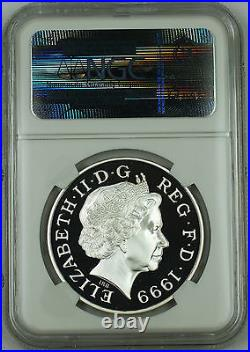 1999 Great Britain Silver 5 Pound Proof Coin, NGC PF-67 UC, UK Millennium