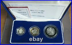 2003 UK 3 COIN 925/1000 SILVER PROOF 50p, £1 & £2 PIEDFORT COLLECTION Box&COA