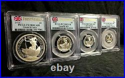 2012 Silver Great Britain Britannia PR70 DCAM PCGS First Strike 4 Proof Coin set