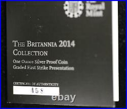 2014 Great Britain Proof Silver Britannia NGC PF 69 Ultra Cameo with COA First 500