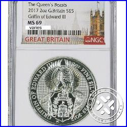 2017 2 Oz Silver Coin Ngc Ms 69 Great Britain Queen's Beasts The Griffin