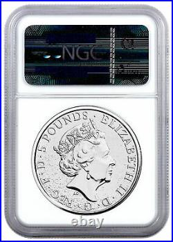 2017 Great Britain 2 oz Silver Queen's Beasts Red Dragon of Wales NGC MS69 Excl