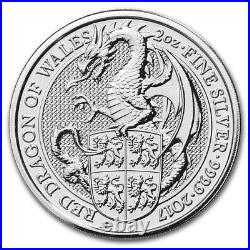 2017 Great Britain 2 oz Silver Queen's Beasts The Dragon BU Coin from Mint Roll