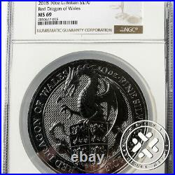 2018 10 OZ SILVER COIN NGC MS 69 GREAT BRITAIN QUEEN'S BEASTS Red Dragon