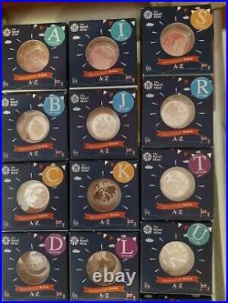 2018 Full Set A-Z 10p Silver Proof Coin Alphabet Letters. 26 x sp 10p. A-Z
