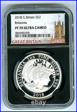 2018 Great Britain 1oz Silver Proof Ngc Pf70 Ucam Britannia Extremely Rare Black