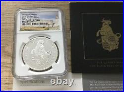 2018 Queens Beast Black Bull Of Clarence 1oz Silver Proof £2 NGC PF69 COA