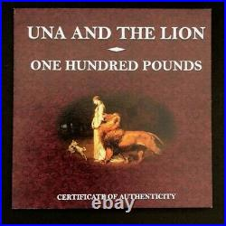 2019 Great Britain UK Alderney 1 kilo Silver Proof, Una & The Lion, 100 pounds