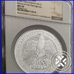 2020 10 OZ SILVER COIN NGC MS 70 GREAT BRITAIN QUEEN'S BEASTS Falcon