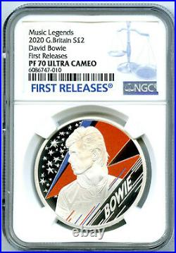 2020 2pd Great Britain 1oz Silver Proof David Bowie Ngc Pf70 Ucam First Releases