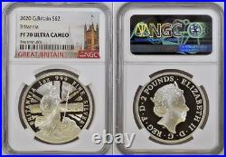 2020 Great Britain 1 oz PROOF Silver Britannia 2£ NGC PF70UC In NGC top 241