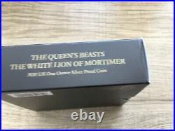 2020 Queens Beasts White Lion of Mortimer £2 1oz Silver Proof Coin Box & COA