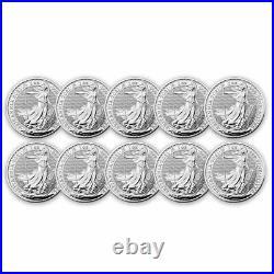 2021 Great Britain 1 oz Silver Britannia BU (Lot of 10 Coins)