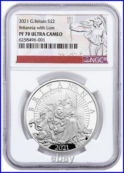 2021 Great Britain 1 oz Silver Britannia Proof £2 Coin NGC PF70 Britannia Label