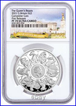 2021 Great Britain 1 oz Silver Queen's Beasts Completer Proof £2 NGC PF70 UC FR