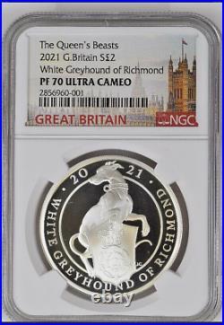 2021 Great Britain £2 1oz Silver Queen's Beasts White Greyhound Richmond PF70UC