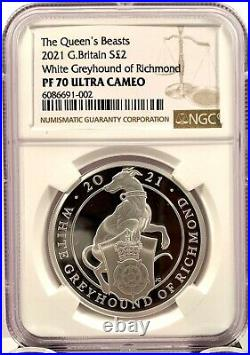 2021 Great Britain £2 Queens Beast Greyhound 1 oz Silver Proof Coin NGC PF 70