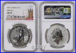 2021 Great Britain Britannia £2 Silver 1oz Coin NGC MS70 Just back from NGC