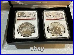 2021 Great Britain Britannia Proof & Reverse 2-Coin Silver Set NGC 70 1st Day