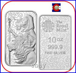 2021 Great Britain Una and the Lion 10 oz 0.9999 Silver Bar Great Engravers