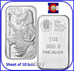 2021 Great Britain Una and the Lion 1 oz 0.9999 Silver Bar sheet of 10 bars